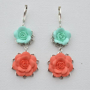 Franchesca's Mint and Coral Rose Dangle Earrings